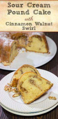 Cinnamon Pound Cake Recipe, Pound Cake Recipes, Walnut Pound Cake Recipe, Sour Cream Pound Cake, Cake With Sour Cream, Delicious Desserts, Yummy Food, Tasty, Baking Recipes