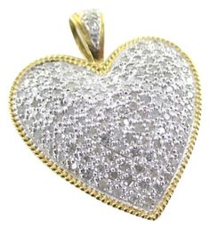 14K SOLID YELLOW GOLD PENDANT HEART LOVE 120 PAVE DIAMONDS 1.20 CARAT ESTATE