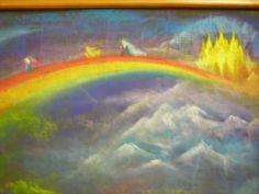 Waldorf ~ 4th grade ~ Norse Mythology ~ Bifrost Bridge ~ chalkboard drawing