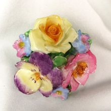 Vintage Coalport Bone China Pansy Flower Floral Brooch Pin England