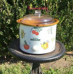 Crock Pot Slow Cooker, Crockpot, Rival Crock Pot, Vegetable Design, Packaging Supplies, Stoneware, Marble, Electric, Vegetables