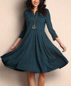 Reborn Collection Green Button-Front Empire-Waist Dress   zulily