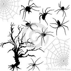 Paisaje de Halloween. Siluetas de un árbol y varias arañas en sus telarañas.