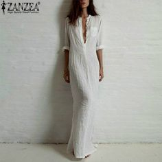 Zanzea Fashion Vestidos 2016 Summer Women Sexy Casual Dress Long Sleeve Deep V Neck Linen Split Solid Long Maxi Dress Plus Size