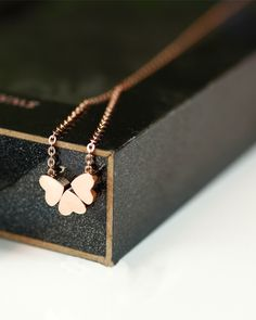 Three Hearts Rose Gold Necklace