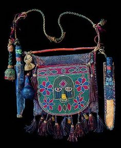 Laba Sano Nigeria, Yoruba Diviner's Bag (Beaded bags such as this Laba Sano, were used by the Yoruba ritual specialists, especially Ifa designers and Sango priests)