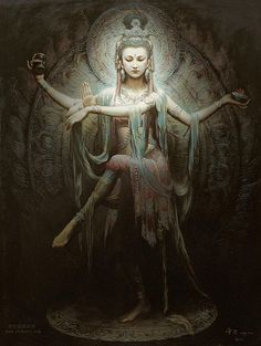 Guan Yin in the posture of Lord Shiva's dance. Lovely!