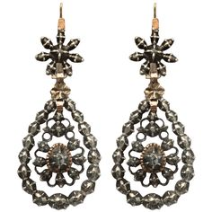 Georgian Chandelier Earrings Embellished with Antique Diamonds | From a unique collection of vintage chandelier earrings at http://www.1stdibs.com/jewelry/earrings/chandelier-earrings/
