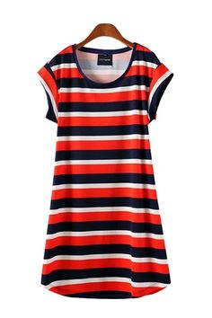 Striped Cotton O-neck Short Sleeve Dress
