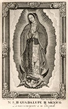 Our Lady of Guadelupe old etching