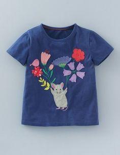 Königsblau mit Maus Leichtes T-Shirt mit Wiesenmotiv Boden