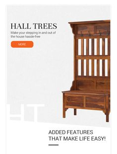 Make your stepping in and out of the house hassle-free.   #entryway #halltree #solidwood #mahoganywood #storage #cabinet #shoestorage #bench #interiordesign #interior #homedecor #decor #furniture #homefurniture