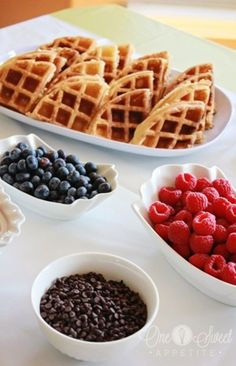 Waffle Bar -- great for New Years Day brunch, mother's day brunch, etc.