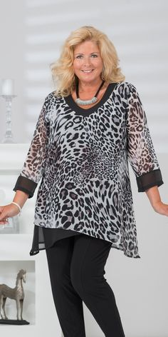 Kasbah black/leopard voile top