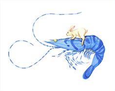 Rabbit Art Rabbit Riding Blue Tiger Shrimp Animal by millersye, $12.00