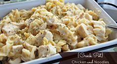 Ingredients: 1 lb chicken breast 10 oz can of cream of chicken soup {or homemade} 10 oz water 8oz chicken broth 12oz wide egg noodles Directions: Spray crock pot with non stick cooking spray or line with crock pot liners/parchment paper. In a mixing bowl, mix together soup, water and broth. Place ch…