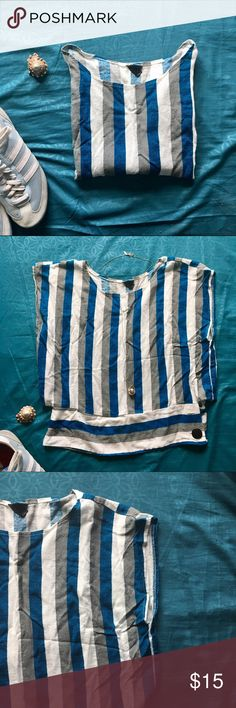 Unique + Cute Nautical Vintage Striped Top NewYork Unique + Cute Nautical Vintage Striped Top by Patty Fashion New York California. Says size L, but I wore it and I'm a S. Draped, but fitted, slight crop. Side buttons, but missing one. Still functional and wearable. 50/50 Cotton Poly. A great vintage find! 👌❤️ Vintage Tops Crop Tops