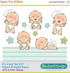 Baby boy Clipart and Digital Paper JPG and transparent background PNG clipart (the babies are 3 x 4) The digital paper is 12 x 12 12