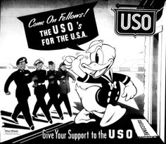 Give Your Support to the USO ~ US WWII poster, c. 1942-1945