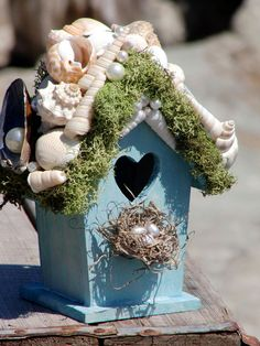 Shabby Beach Cottage Shell Encrusted Bird House by ShabbyBeachNest, $20.00