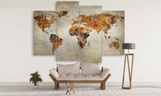 Abstract World Map Canvas Wall Art Large World Map Canvas, Large Canvas Wall Art, House Painting, Home Improvement, Vintage World Maps, Exterior, Flooring, Abstract, Home Decor