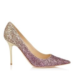 ABEL Boho Pink and Gold Coarse Glitter Dégradé Pointy Toe Pumps Cruise 16 $675