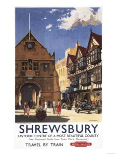 Shrewsbury, England - Old Market Hall View British Railways Poster Premium Poster