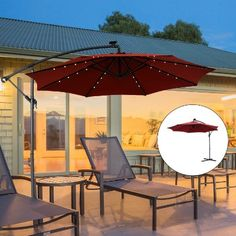 Outsunny Steel Outdoor Offset Tilt Patio Umbrella with Solar LED Lights Offset Patio Umbrella, Solar Led Lights, Patio Umbrellas, Tilt, Steel, Outdoor Decor, Home Decor, Interior Design, Home Interior Design
