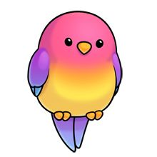 Cute pink, yellow, and purple cartoon parrot.