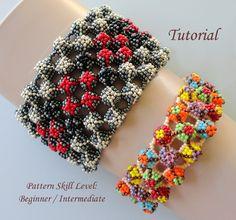 Beading tutorial - beadweaving pattern beaded seed bead jewelry instructions - beadwork bracelet - beadwoven FIRE and ICE by PeyoteBeadArt on Etsy https://www.etsy.com/listing/209088683/beading-tutorial-beadweaving-pattern