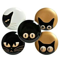 rock painting inspiration:) I need these plates!Cat Eye Plate Set Of 5 (by Miya) - great idea for pottery painting, magnets, cards, icons. These would be darling on painted rocks!Rock Painting Archives - Page 14 of 21 - Crafting For HolidaysCat Eye Plate Pebble Painting, Pottery Painting, Pebble Art, Stone Painting, Eye Painting, Ceramic Painting, Stone Crafts, Rock Crafts, Halloween Rocks