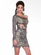 Sheath/Column One-Shoulder Long Sleeves Short/Mini Lace Dresses