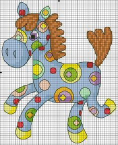 Very cute and colourful horse X-stitch pattern
