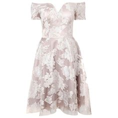 True Decadence Organza Bardot Dress, Grey / Cream Online at johnlewis.com