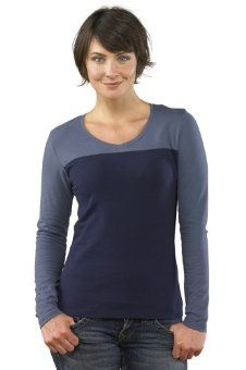 Fair Indigo Organic Pima Cotton V-neck Colorblock Tee