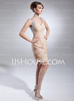 Sheath Sweetheart Short/Mini Chiffon Mother of the Bride Dress With Ruffle Beading Sequins (008015654)