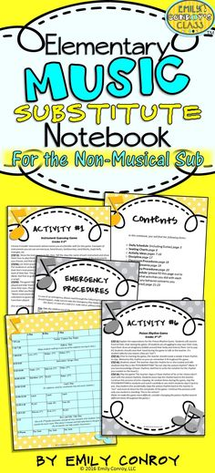 Music Sub Plans (For the Non-Musical Sub) are great for substitutes with no musical background! The plans contain musical activity ideas for sub tubs or binders and are simple enough for a non-musical sub to implement. It also includes a daily schedule page, welcome letter, classroom procedures, and other helpful instructions!