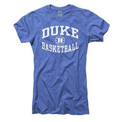 Duke Blue Devils Women's Heather Royal Reversal Basketball Ring Spun T-Shirt