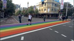 Rainbow pedestrian crossing at Taylor Square in Sydney for the LGBT Mardi Gras festival.