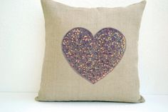 Off-White Burlap heart pillow cover with platinum by AmoreBeaute