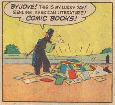 """psaaok:""""By Jove! This is my lucky day!""""Hit Comics, Issue May Source Comic Books Art, Comic Art, Book Art, Satw Comic, Best Book Reviews, Comic Book Panels, Book Review Blogs, Architecture Tattoo, American Literature"""