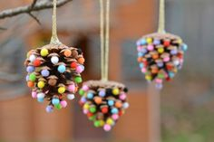 Pom poms and pinecones christmas ornaments one little project