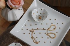 modern jane: DIY: Gold Polka Dot Jewelry Dishes.