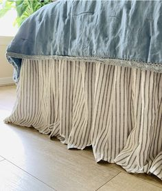Iron and White Ticking Striped linen bed skirt, Iron Grey and White Linen Striped Dust Ruffles Gathered, All Sizes or Custom Size Ticking Stripe, Striped Linen, Linen Fabric, Linen Bedding, Poplin Fabric, Dust Ruffle, Ruffles, Shower Curtain Rods, Easy Install