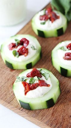 cucumber canapes with feta, sun dried tomatoes, and basil.... www.tablescapesbydesign.com https://www.facebook.com/pages/Tablescapes-By-Design/129811416695