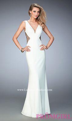 Long V-Neck Jersey Open Back Prom Dress by La Femme Style: LF-22290
