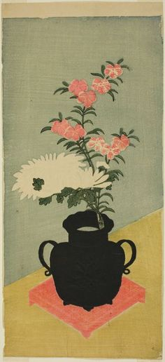 Attributed to Ippitsusai Bunchô  Japanese, active c. 1755-1790, White Chrysanthemums and Pinks in a Black Vase