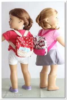 American Girl Doll pattern for cute backpacks for your dolls. #AmericanGirlDoll…
