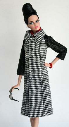 Black and white houndstooth coat  by ChicBarbieDesigns