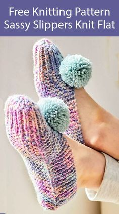 Free Knitting Pattern for Sassy Slippers Flat Knit - Easy garter stitch slippers knit flat and seamed. Includes instructions for pompoms. Designed by Lion Brand for Joann. Patterns Free Knitting Pattern for Sassy Slippers Flat Knit Knitting Terms, Sweater Knitting Patterns, Knitting Socks, Free Knitting, Knitting Projects, Diy Crafts Knitting, Knit Socks, Knitting Machine, Knitting Charts